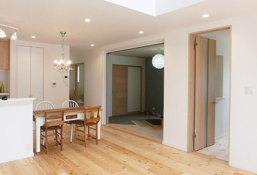 LDKの隣に畳スペース。 キッチンの奥に水回りスペース。家事動線・生活動線の考えられた間取り。